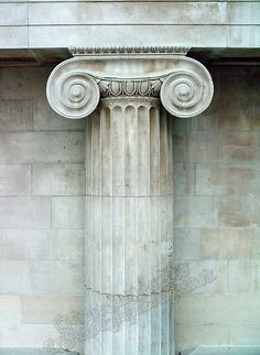 This Greek inspired column is located at the British Museum. It is an ionic column. Looks cool and I like the material but corinthian capitals are still better in my opinion. Ancient Greek Architecture, Classical Architecture, Art And Architecture, Architecture Details, Sustainable Architecture, Stone Decoration, Greek Pattern, Greek Design, Art Sculpture