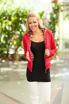 Soft Red Leopard Zip Up Hoodie