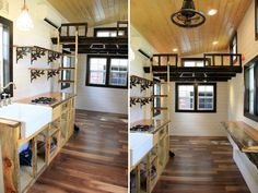 Tiny houses austin kitchen area and view to the second loft fort by tiny ho Tiny House Bedroom, Tiny House Living, Bedroom Loft, Small Living, Small Loft Apartments, Stairs In Kitchen, Tiny House Storage, Sleeping Loft, Stair Storage