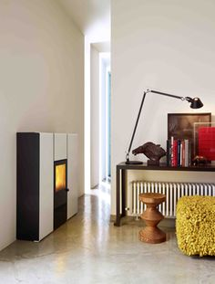 pellet stove that heats the water, Flux model from mcz.com, Italy