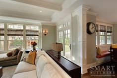 Contemporary Craftsman Style Custom Home  • Family Room • Breakfast Nook • Column • Beam Ceiling • SMART Builders, Inc.