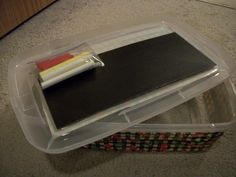 """Chalkboard scrap paper, double sided tape and a baggie of chalk. Great,""""under the lid"""" idea! Christmas Child Shoebox Ideas, Operation Christmas Child Shoebox, Kids Christmas, Christmas Boxes, Charity Gifts, Charity Ideas, Shoe Box Lids, Vbs Crafts, Shoebox Crafts"""