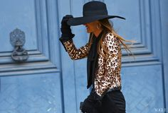 Anna Dello Russo in sequin leopard jacket. Amazing!!!! Paris Fashion Week street style