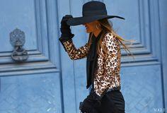 Anna Dello Russo in sequin leopard jacket. Amazing!!!! Paris Fashion Week street style
