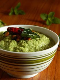 Indian Cuisine: Pudina Kobbari Pachadi ~ Mint and Coconut Chutney
