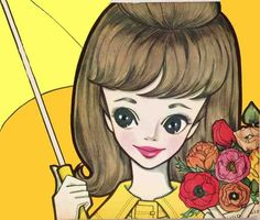 A retro postcard with an illustration of a fashionable / oshare lady with a yellow umbrella. The illustration is by the Japanese shojo manga artist, Rune Naito. Japan Illustration, Kitsch, Building Images, Manga Artist, Kawaii Art, Japanese Artists, Manga Drawing, Big Eyes, Shoujo
