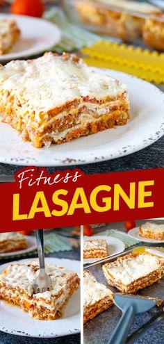 Klasické italské lasagne jsou sice výborné, pro fitness kuchyni ale bohužel nehorázně tučné. Můžete si je dát a nezhřešit? Ano! Vepřové maso nahraďte méně tučným hovězím, máslový bešamel odlehčete nízkotučným kefírem a místo parmazánu použijte mozarellu light. Vznikne tak fit verze vhodná jako vydatná sacharidovo proteinová večeře po tréninku. Healthy Food, Healthy Recipes, Banana Bread, Sandwiches, Anna, Health Fitness, Desserts, Lasagna, Healthy Foods