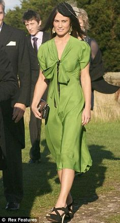 Sept 2011: University chum Humphrey Bowles and Hattie Dawson Floaty and rather land-girl, this £405 dress by Suzannah — worn with £280 Gina Foster hat — isn't Pippa's usual style at all. Nor are the £145 LK Bennett sandals. TOTAL: £830  Read more: http://www.dailymail.co.uk/femail/article-2328757/When-Pippa-Middleton-pews-guest-interested-.html#ixzz2U2y0NjhM  Follow us: @MailOnline on Twitter | DailyMail on Facebook