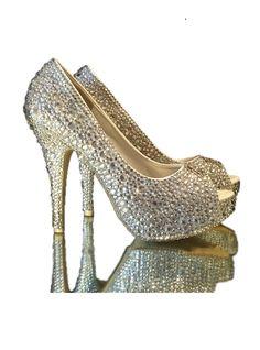 5fb6f5178 Ladies Crystal Peep Toe High Heels Peep Toe Shoes