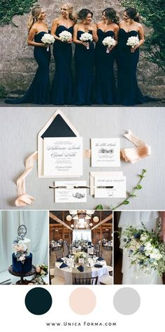 Navy and blush wedding inspiration. Navy blue wedding. Invitations from Unica Forma.