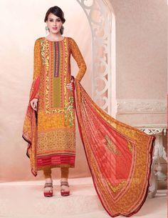 $67.69 Mustard Crepe Pakistani Style Suit 57565