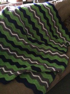 "Seattle Seahawks Colors Inspired Handmade Crochet Afghan Blue Green White 92"" x 60"" "" Football Stadium Game Day Blanket Throw GO HAWKS!"