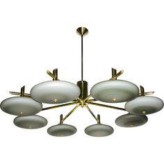 Italian Bronze and Grey Opal Glass Chandelier @shoprubylux #CosulichInteriorsAntiques #20thCentury