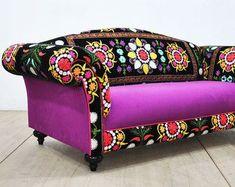Suzani couch by namedesignstudio on Etsy European Furniture, Funky Furniture, Sofa Furniture, Painted Furniture, Painted Wood, Vintage Sofa, Patchwork Sofa, Suzani Fabric, Snug Room