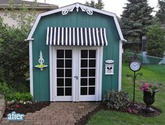They took a garden shed...added the doors, awning and decorative touches...I have been thinking about doing the same for quite some time...this is a bit more inspiration...