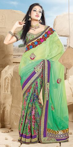 Aloe Vera Green Color Brasso And Chiffon Saree TJSA9428. Sale : $95.00