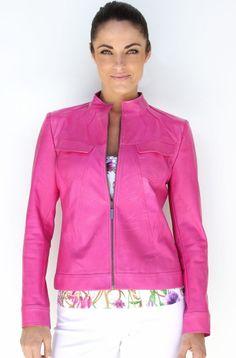 Hot Pink Leather Jacket on mkgrayse.com