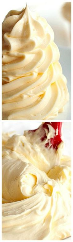 Vanilla German Buttercream Vanilla German Buttercream ~ It has a luxuriously velvety mouthfeel due to a generous amount of butter and a gorgeous, silky texture. Brownie Desserts, Just Desserts, Delicious Desserts, Dessert Recipes, Yummy Food, Cupcake Recipes, Coconut Dessert, Sweet Sauce, Frosting Recipes