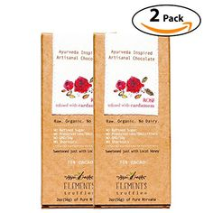Elements Truffles Rose Bar with Cardamom Infusion - Dairy Free Chocolate Bar - Gluten Free, Non-GMO, Raw & Organic Chocolate Bar - Ayurveda Inspired Healthy Chocolate Bar - Two Pack ** You can get additional details at the image link. (This is an affiliate link) #healthysnackprotienpack