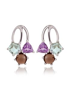 Sterling silver gemstone earrings featuring an Amethyst, a Green Amethyst and a Smoky Quartz crystal. The earrings measure 21 mm each. The crystal earrings are also available with a different set of gemstones.