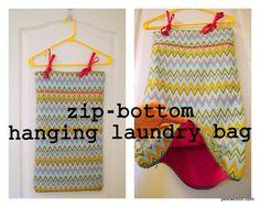 zip bottom hanging laundry bag tutorial