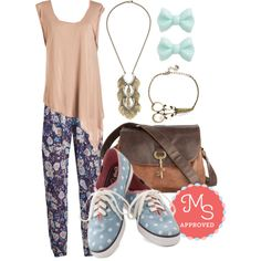In this outfit: Beach Me Your Ways Pants, Weekend Wonder Top, Make Your Own Path Necklace, You Bow What I Mint Earrings, One Thing's for Shear Bracelet, Keystone State Bag in Whiskey & Molasses, Anything But Simple Sneakers #casual #patternedpants #Keds #boho #flirty #pretty #ootd