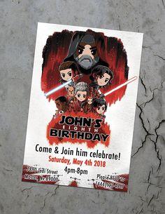 Star Wars Birthday Invitation / The Last Jedi / Kylo Ren