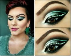 Green cut crease double winged look
