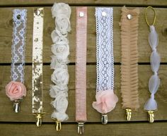 Pacifier Clips....love the all rosette one! Cute baby gift idea!