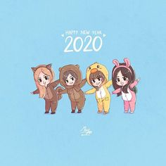 ‪[FA]🥳Happy new year 2020 🐿🐻🐥🐰 Please do not… Anime Chibi, Kawaii Anime, Tumblr Bff, Anime Friendship, Blackpink Funny, Friend Cartoon, Bff Drawings, Disney Princess Pictures, Black Pink Kpop