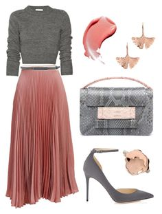 """Ballet Inspired"" by dominosfalldown ❤ liked on Polyvore featuring Jimmy Choo, White House Black Market, Rosa Maria, Metalskin, Aurélie Bidermann, Pink, grey, rosegold and pleatedskirt"