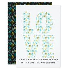 1st Wedding Anniversary Card - Modern Teal leaves - anniversary gifts ideas diy celebration cyo unique