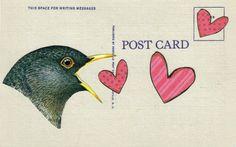 Cute Bird Postcard Original Collage on Paper Prim Bird Lovebird Art Primitive Heart Artwork I Love You