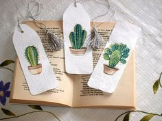 Your place to buy and sell all things handmade Set of 3 Bookmarks With Cactus Pictures White Handmade Etsy Creative Bookmarks, Paper Bookmarks, Cute Bookmarks, Watercolor Bookmarks, Watercolor Art, Printable Bookmarks, Handmade Bookmarks, Free Printable, Cactus Pictures