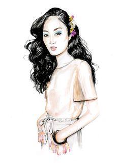 Fashion illustration for Diane Von Furstenberg SS16 // Caroline Andrieu