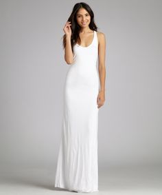 The Helmut Lang white jersey racerback tank maxi dress at Bluefly.