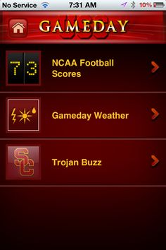 Toolbar buttons can lead to additional choices, allowing for nested menus.  In this example, USC has created a Gameday menu which includes a Pac-12 scoreboard, Gameday weather, and our twitter-based hashtag chat rooms.