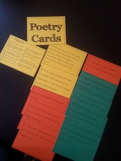 Printable cards that have students find poems with different characteristics.  Print on colored cardstock for a burst of color!