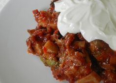 'Şakşuka' is a vegetarian medley of fried eggplant and vegetables in tomato sauce. Like many Turkish dishes, it's often topped with creamy garlic yogurt.