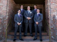 The groom and groomsmen. Wedding suits; purple and grey. PC: Reins and Roses Photography.