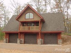 3 car garage with loft and balcony. I'd love it attached to a house and used as a master bedroom and/or library.