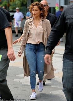 Flawless! Jennifer Lopez looked stunningwhile filming her NBC show Shades of Blue in New ...