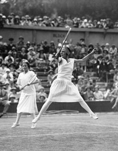 Suzanne Lenglen (France)(fore) & Elizabeth Ryan (USA) -1921 Wimbledon.