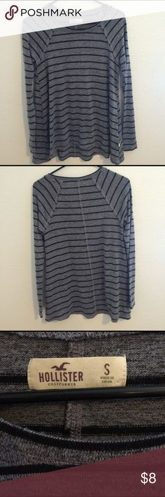 Black & Gray Long Sleeved Striped Shirt Size small. New w/o tags. Never worn. The sleeves are tight and the rest is flowy. Hollister Tops Tees - Long Sleeve