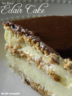 Stupidly Easy No-Bake Eclair Cake   Graham crackers, vanilla pudding, and chocolate frosting makes this layered dessert amazing!
