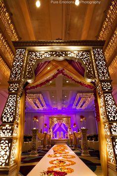 Liked the walkway shape - 30 Elegant Indian Wedding Mandap Decoration Pictures Inspiration Wedding Entrance, Wedding Mandap, Desi Wedding, Wedding Stage, Purple Wedding, Wedding Bride, Bride Groom, Wedding Walkway, Wedding Ceremony