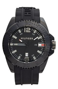 Free shipping and returns on Tommy Hilfiger Round Silicone Strap Watch, 48mm at Nordstrom.com. A rugged round watch boasts a lightweight, notched case and a logo-carved silicone strap for modern sports appeal.