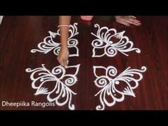 lotus rangoli design for ugadi festival with dots - lotus kolam designs - muggulu designs Simple Rangoli Designs Images, Rangoli Designs Latest, Rangoli Designs Flower, Rangoli Border Designs, Small Rangoli Design, Rangoli Ideas, Rangoli Designs Diwali, Rangoli Designs With Dots, Rangoli With Dots
