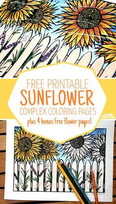 Download five free flower themed adult coloring pages for Spring! This sunflower themed complex coloring page for adults is fun for teens who like crafts and DIY too.