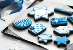 This Hanukkah cookies recipe makes traditional roll-out cookies, including the star of David, a menorah, and a dreidel with the right cookie cutters. Feliz Hanukkah, Hanukkah Food, Christmas Hanukkah, Happy Hanukkah, Christmas Cookies, Hanukkah Recipes, Hannukah Cookies, Jewish Cookies, Holiday Recipes